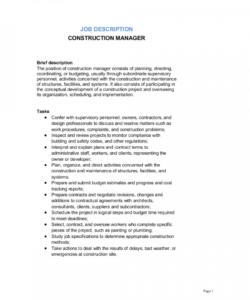 construction manager job description template  by business construction project manager job description template