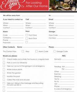 editable summer vacation checklist for your house sitter house sitter checklist template doc