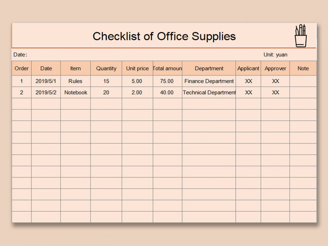 editable wps template  free download writer presentation office supply checklist template excel