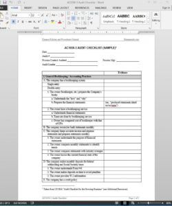 financial audit checklist template  ac10503 internal control checklist template excel