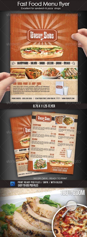 flyer menu templates from graphicriver modern restaurant food menu flyer template