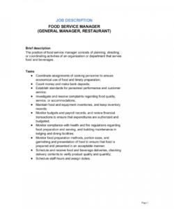 food service manager general manager restaurant job general manager job description template