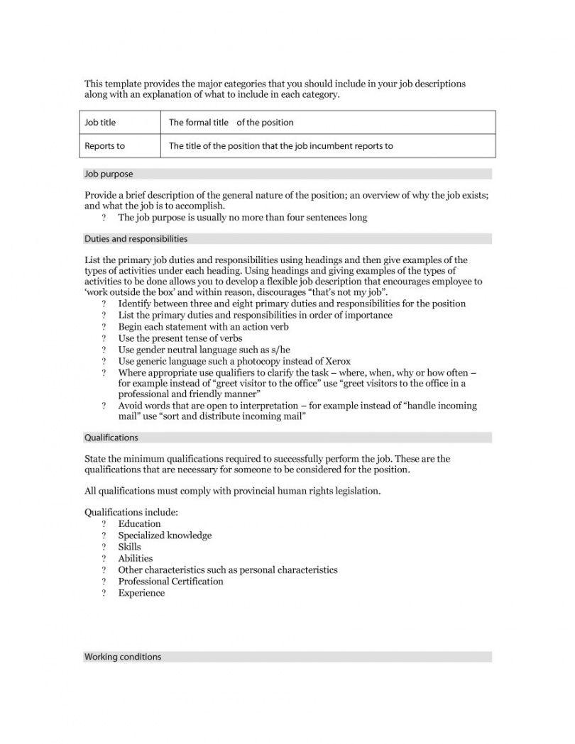 free 49 free job description templates & examples  free template formal job description template