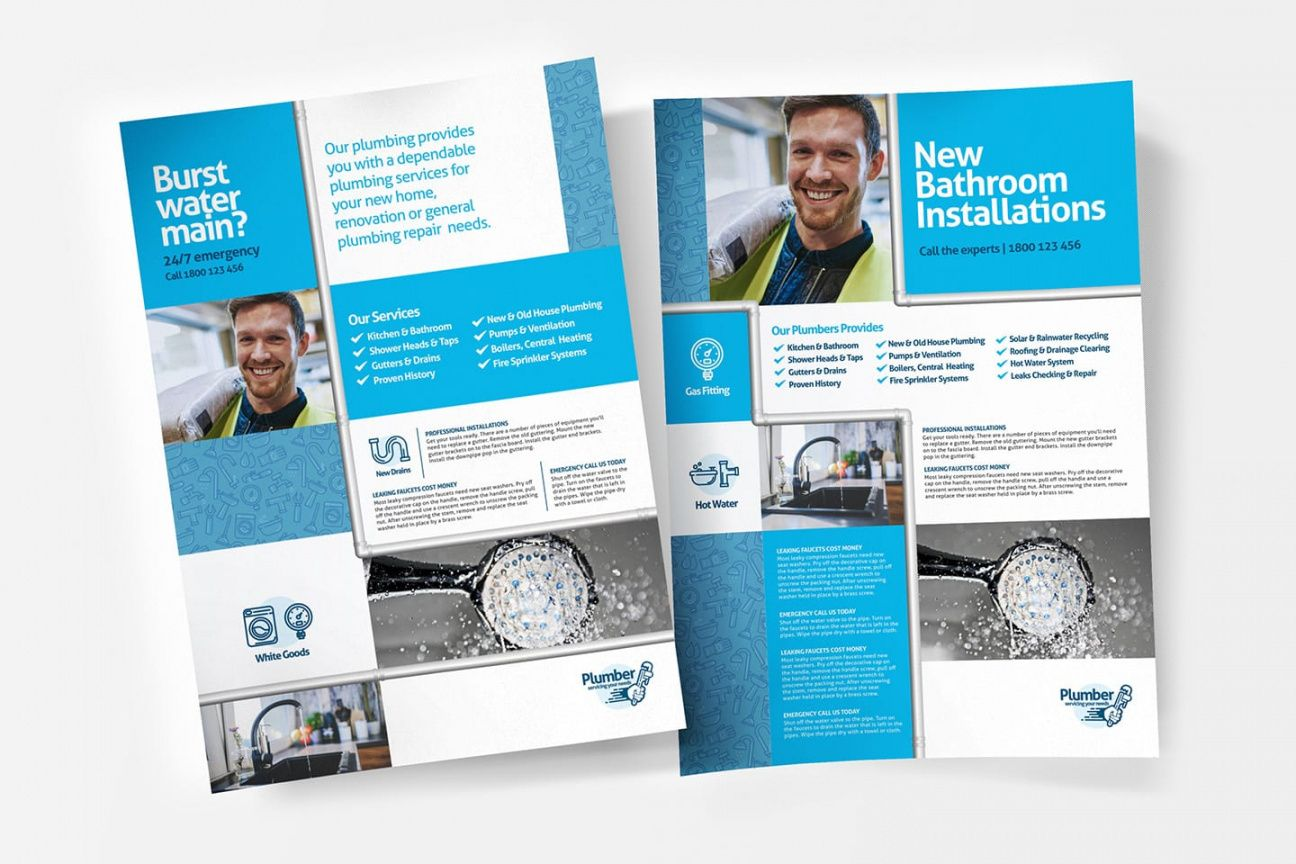 free a4 plumbing service poster template in psd ai & vector plumbing flyer template doc