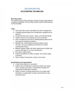 free accounting technician job description template  by business accounting job description template and sample