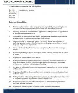 free administrative assistant job description template office assistant job description template doc
