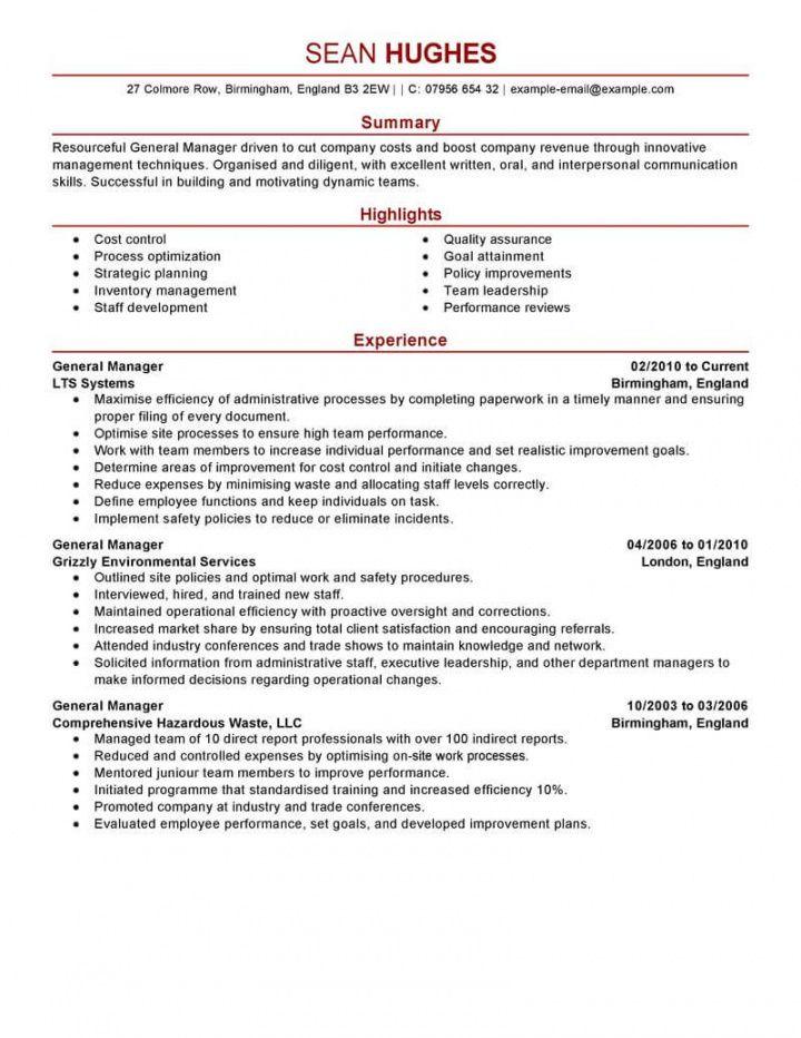free best general manager resume example  livecareer general manager job description template pdf