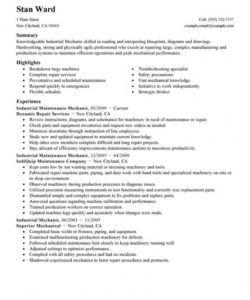 free best industrial maintenance mechanic resume example  livecareer maintenance technician job description template doc