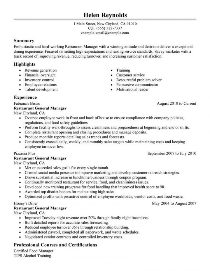 free best restaurant manager resume example  livecareer restaurant manager job description template