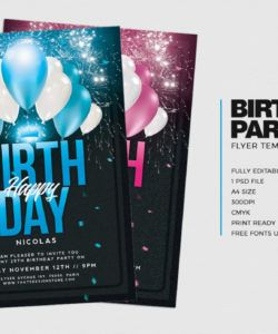 free birthday party invitations flyer template  anniversary psd photoshop party invitation flyer template and sample