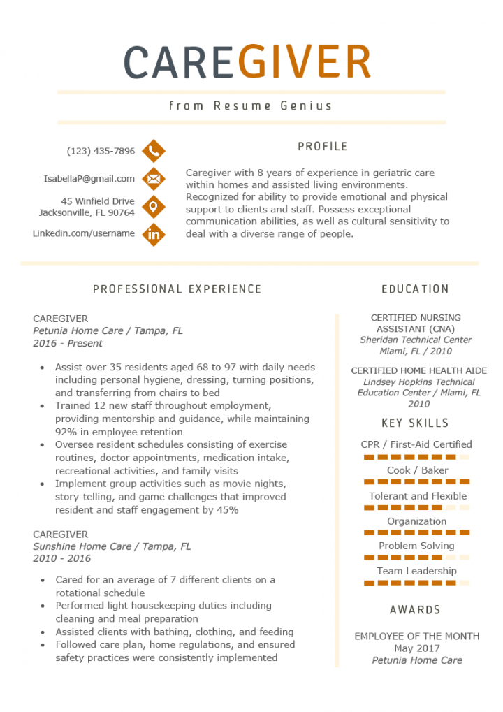 free caregiver resume example & writing guide  resume genius caregiver job description template