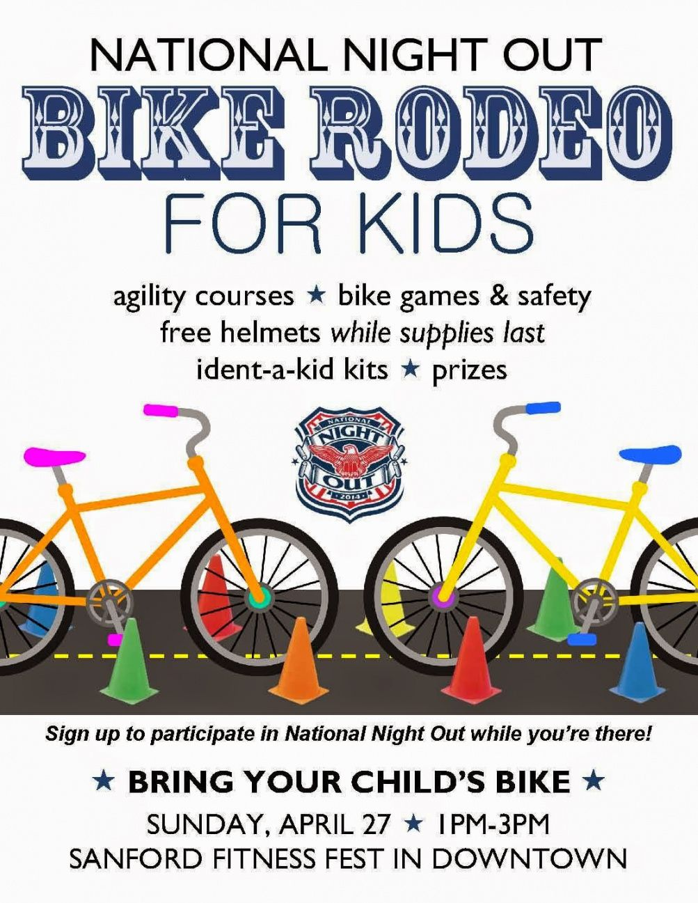 free city of sanford nc nno kicks off with free bike rodeo for kids bike rodeo flyer template