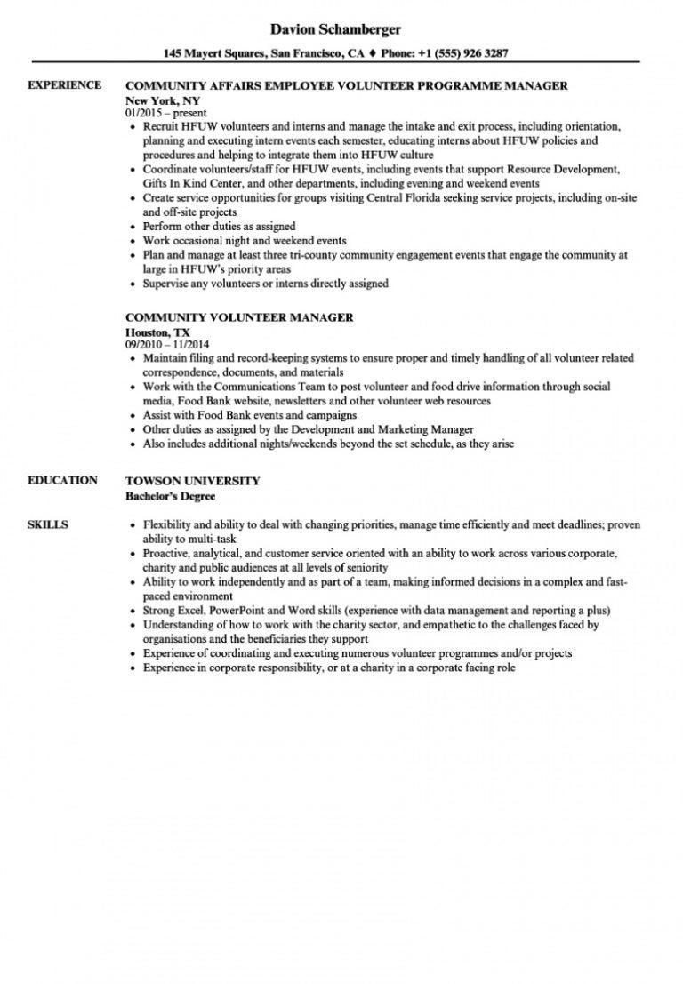 free community volunteer resume samples velvet jobs