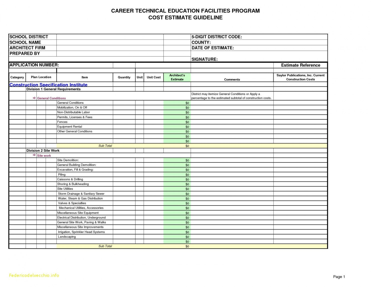 free construction cost estimating spreadsheet for ple hotel bud hotel construction budget template pdf
