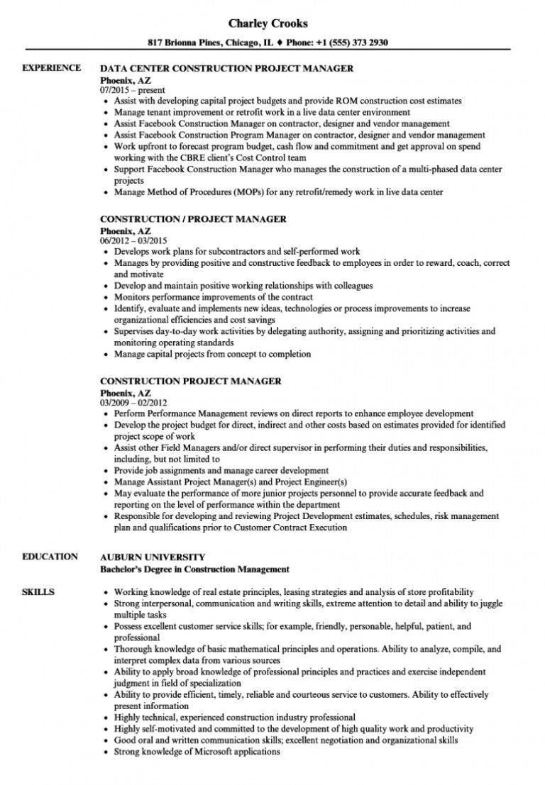free construction project manager resume samples velvet