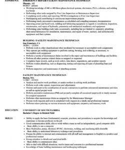 free facility maintenance technician resume samples  velvet jobs maintenance technician job description template pdf