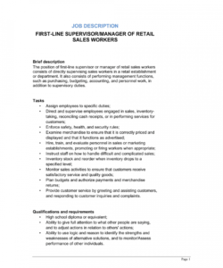 free firstline supervisor or manager of retail sales workers job salesperson job description template doc