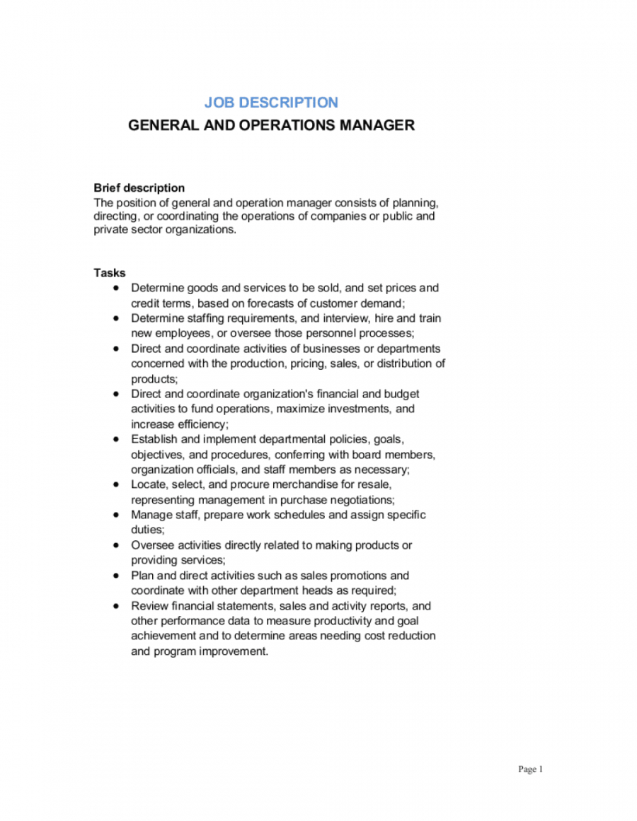 free general and operations manager job description template  by general manager job description template pdf