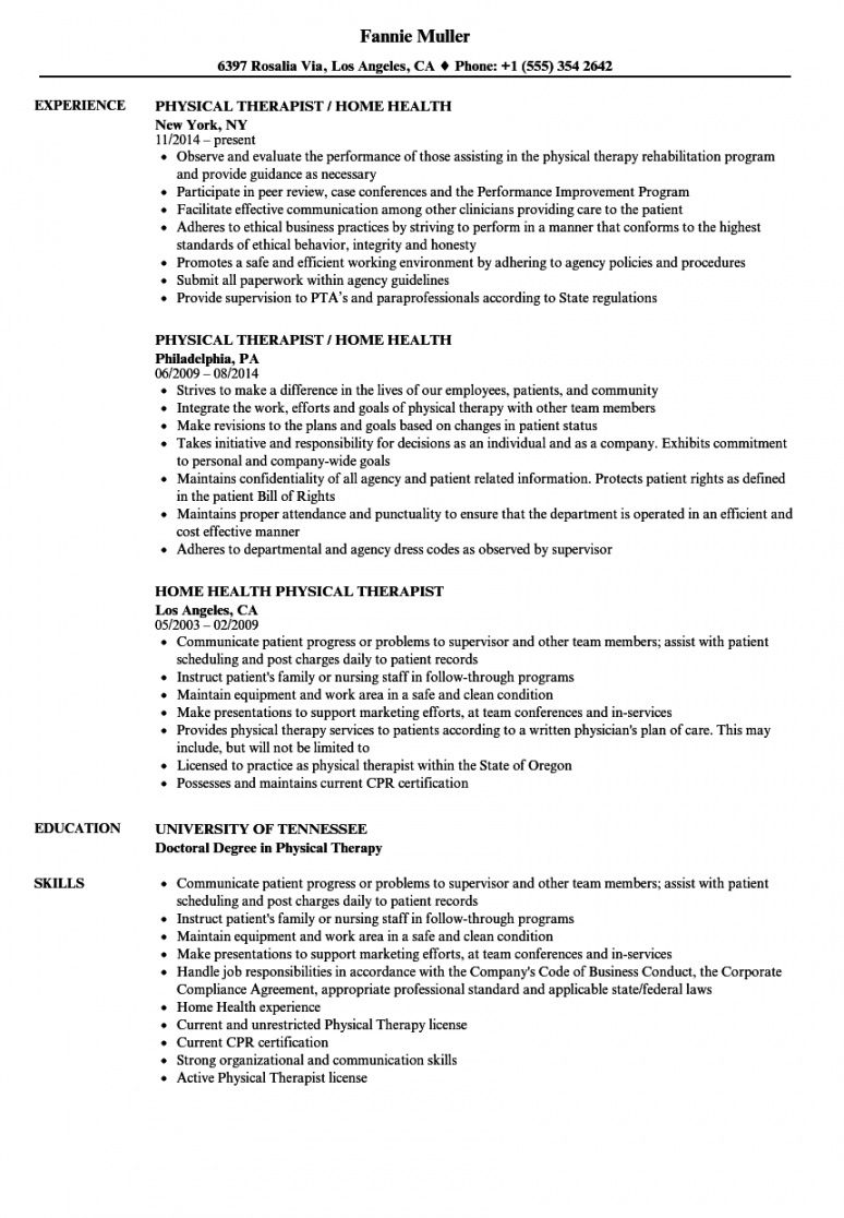 free home health physical therapist resume samples  velvet jobs physical therapist job description template and sample