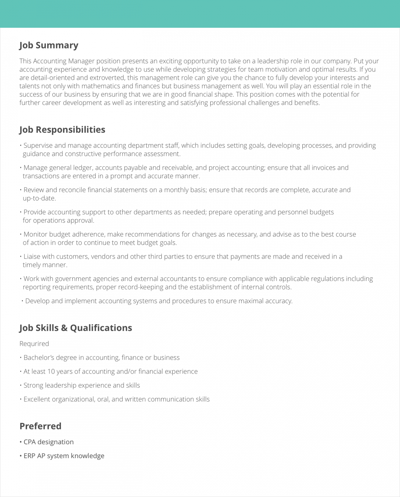 free job description samples & examples  livecareer content manager job description template and sample