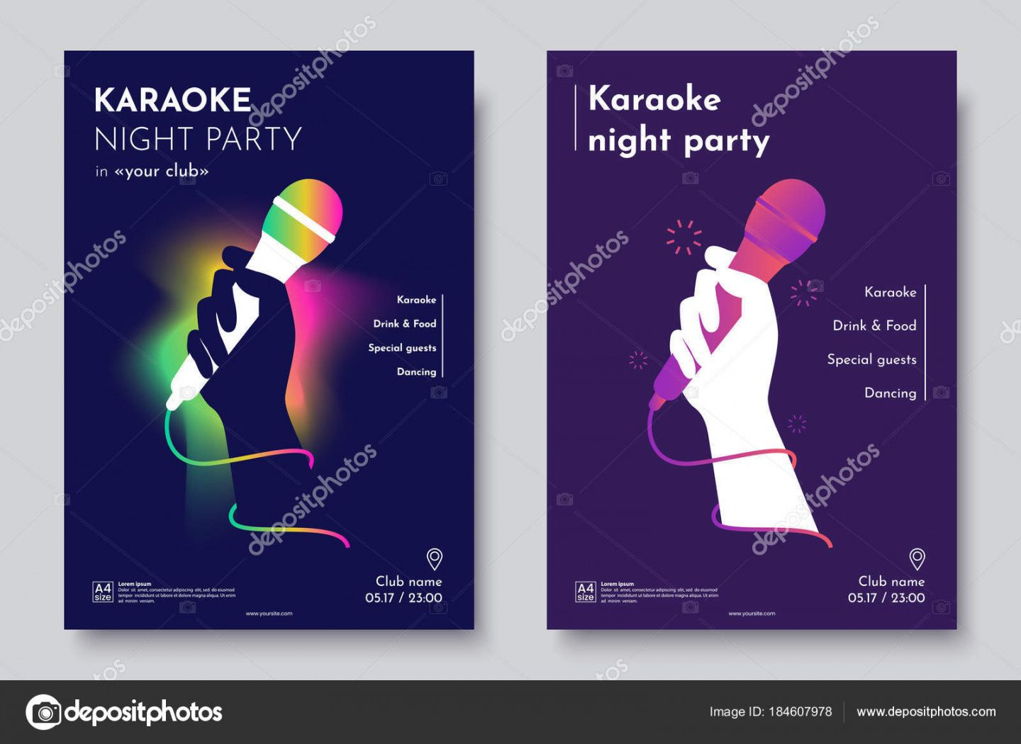 free karaoke party invitation flyer template silhouette of hand with microphone  on an abstract dark background concept for a night club advertising party invitation flyer template pdf