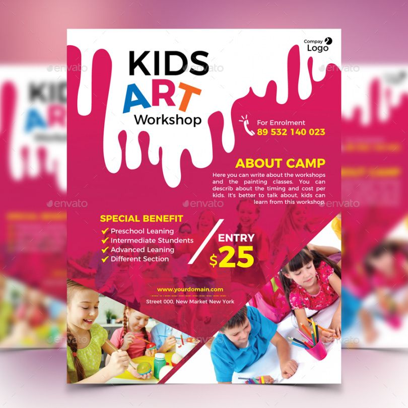 free kids art workshop flyer art class flyer template pdf