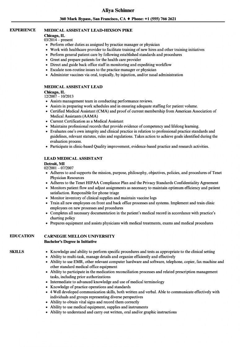 free lead medical assistant resume samples  velvet jobs medical assistant job description template