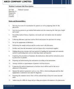 free medical assistant job description template medical assistant job description template and sample