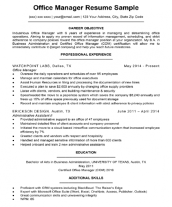free office manager resume sample  resume companion office manager job description template