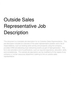 free outside sales representative job description outside sales job description template pdf
