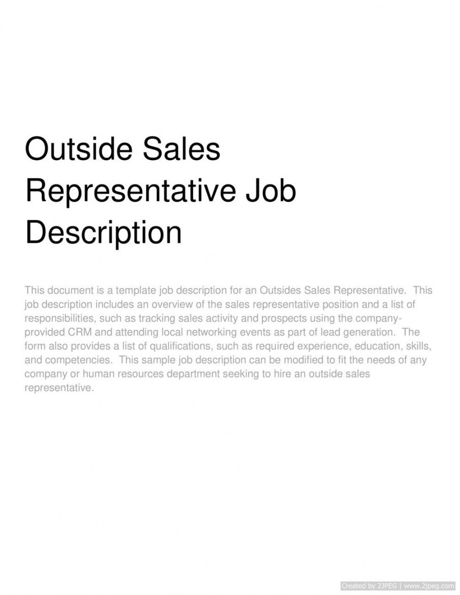free outside sales representative job description outside sales job description template pdf