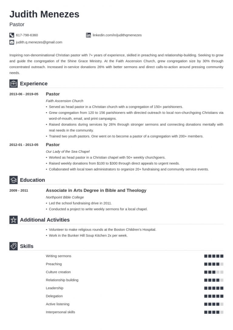 free pastor resume template guide  20 examples pastor job