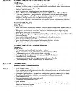 free physical therapy aide resume samples  velvet jobs physical therapist job description template doc