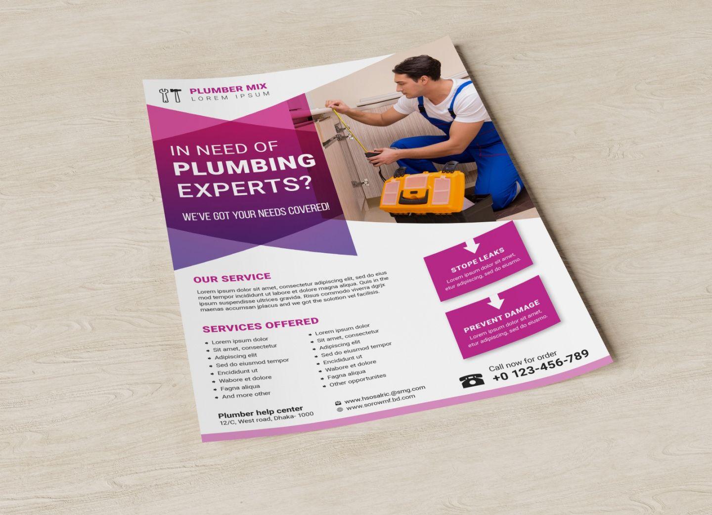 free plumber service flyer template by hossain al azad on dribbble plumbing flyer template pdf