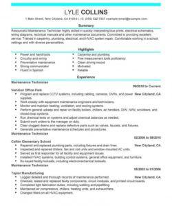 free professional resume examples   livecareer maintenance technician job description template and sample