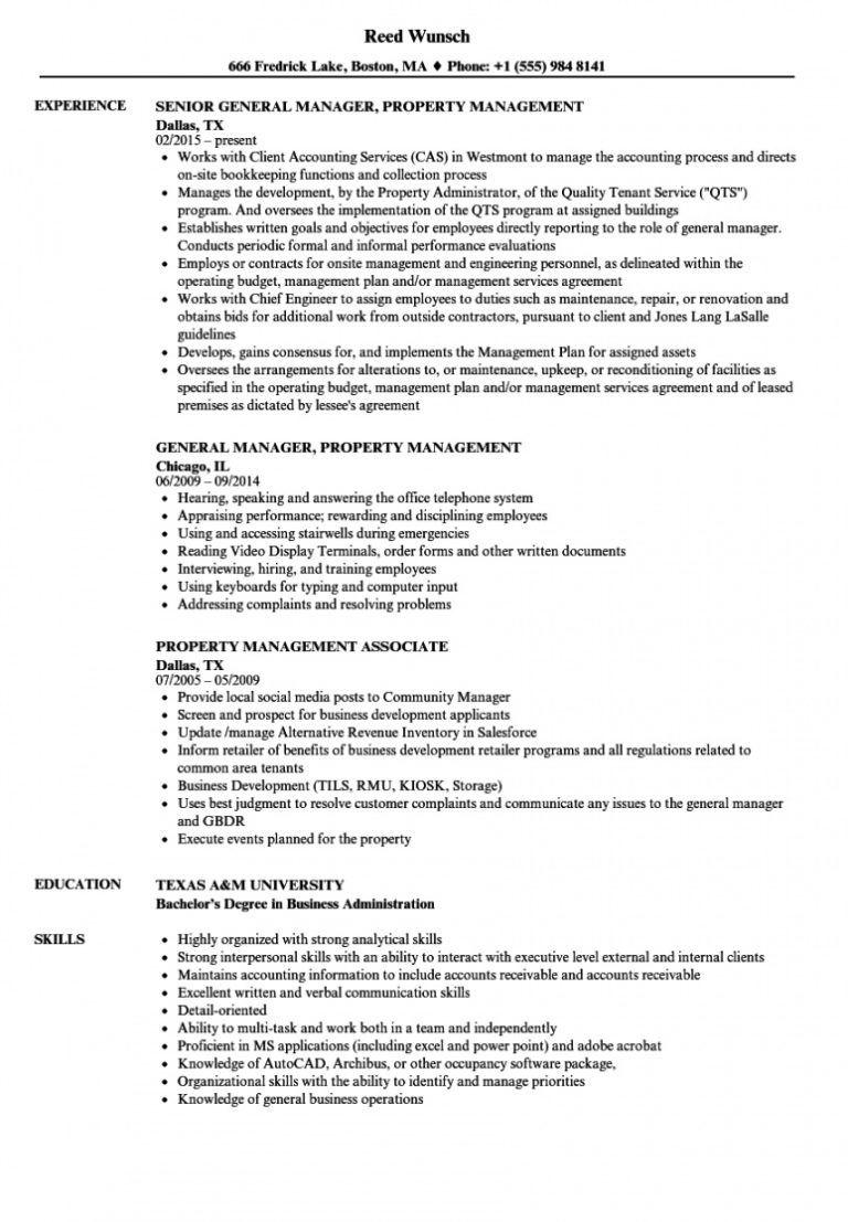 free property management resume samples velvet jobs