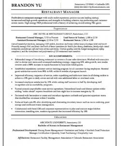 free restaurant manager resume sample  monster restaurant manager job description template