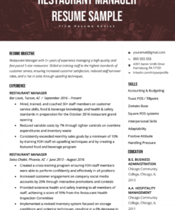 free restaurant manager resume sample & tips  resume genius restaurant manager job description template pdf