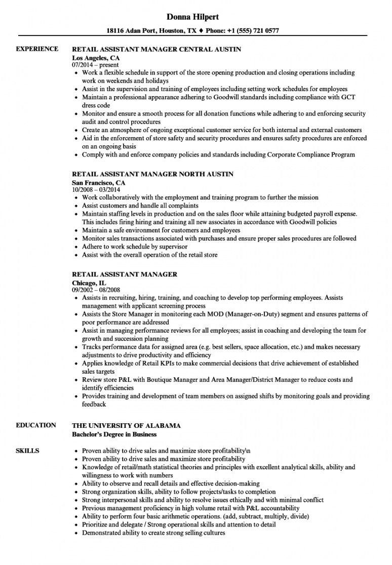 free retail assistant manager resume samples  velvet jobs assistant manager job description template and sample