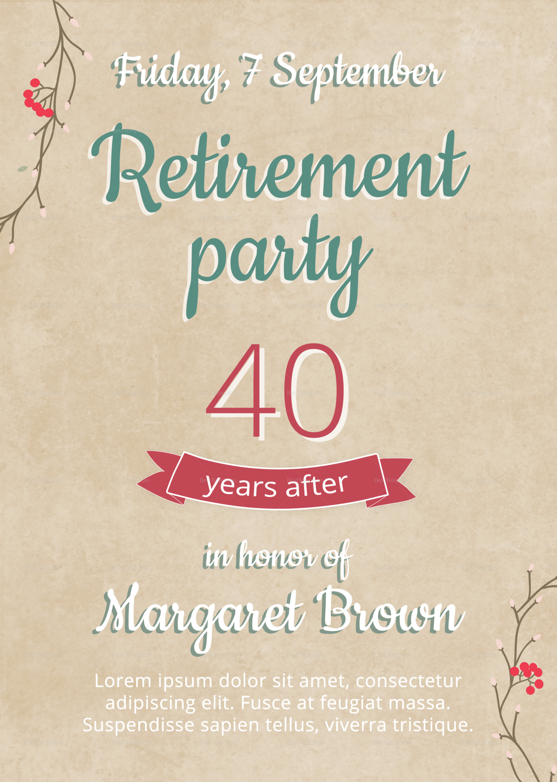 free retirement party flyer design template in psd word retirement announcement flyer template doc