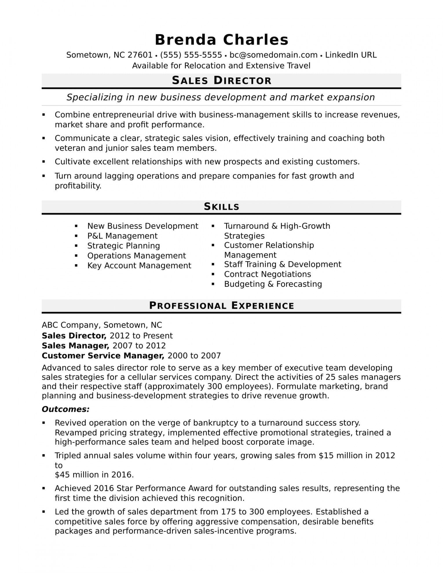 free sales director resume sample  monster sales director job description template doc