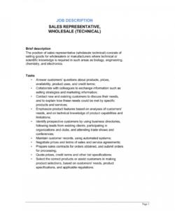 free sales representative wholesale technical job description salesperson job description template
