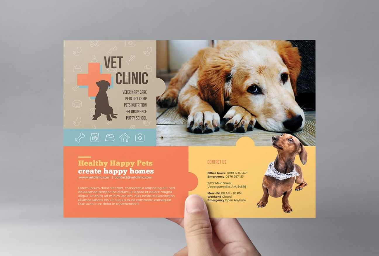 free vet clinic flyer template in psd ai & vector  brandpacks pet care flyer template and sample