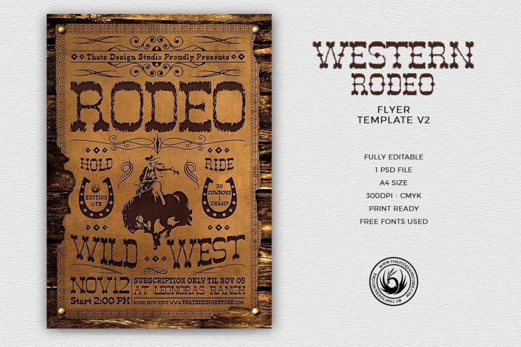 free western rodeo flyer template psd design for photoshop v2 bike rodeo flyer template