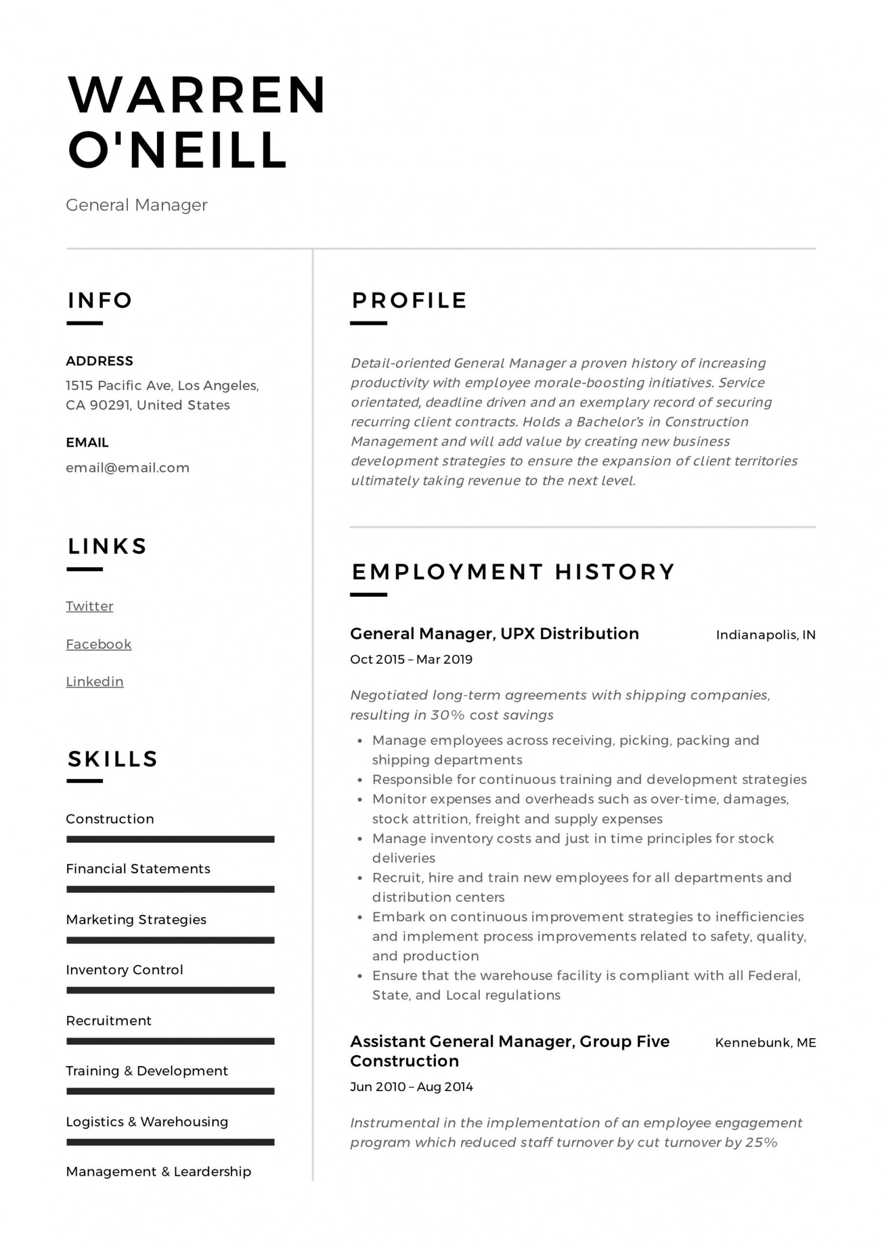 general manager resume & writing guide  12 resume examples general manager job description template