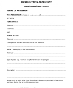 house sitting agreement  fill out and sign printable pdf template  signnow house sitter checklist template doc