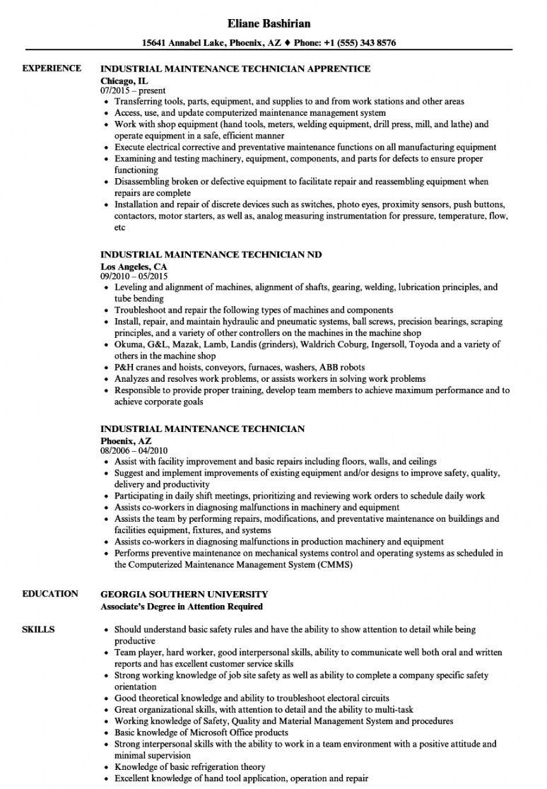 industrial maintenance technician resume samples  velvet jobs maintenance technician job description template doc