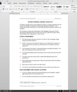 internal control checklist template  ac10203 internal control checklist template pdf