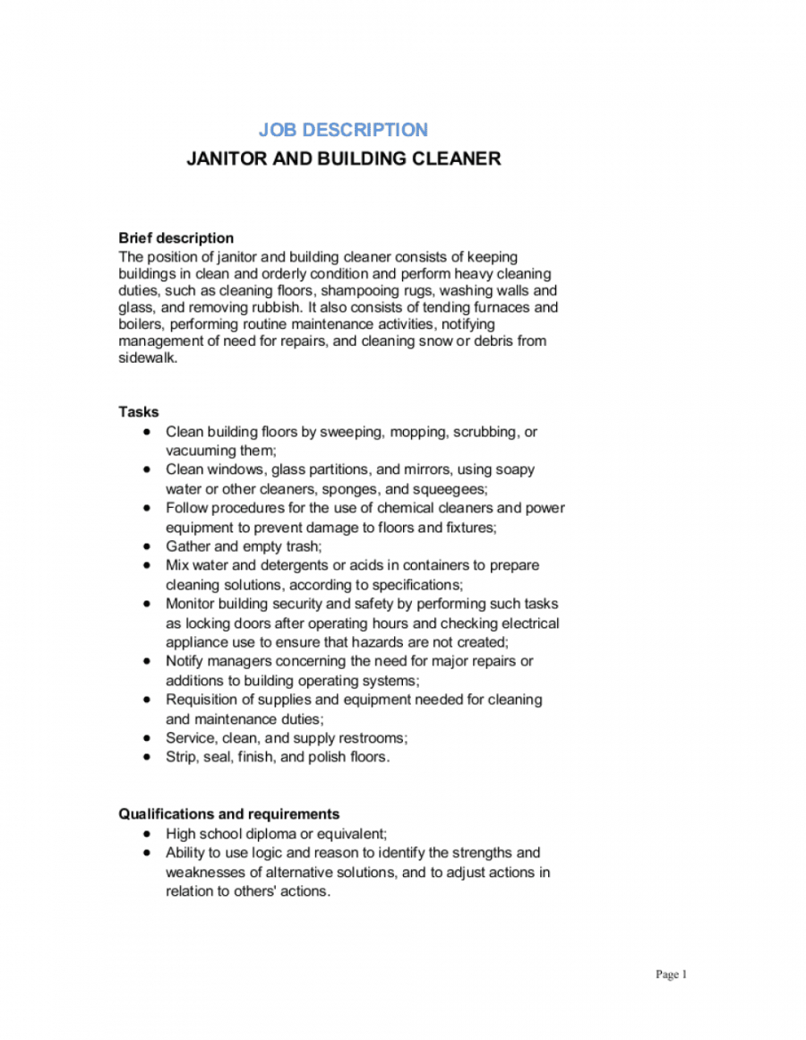 janitor and building cleaner job description template  by building maintenance job description template