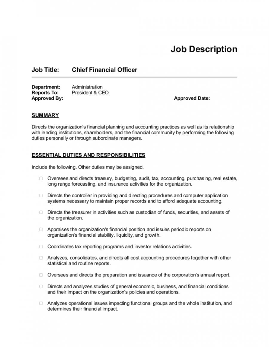 job description example for cfo template  by businessinabox™ accounting job description template